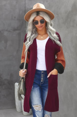 Wine Cotton-blend Pocketed Colorblock Cardigan
