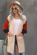 Cardigan colorblock con tasche in misto cotone color albicocca