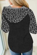 Mangas compridas com capuz preto leopardo colorido