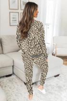 Set de îmbrăcăminte de lounge cu imprimeu leopard bej