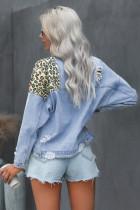Sky Blue Leopard Splicing Cropped Denim Jacket med lomme