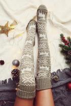 Grijze kerst eland over de knie gebreide haarbal sokken