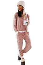 Красный рождественский пижамный комплект в полоску на пуговицах с разрезом и контрастной отделкой