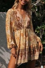 فستان تونيك قصير بأكمام طويلة وفتحة رقبة على شكل V أصفر