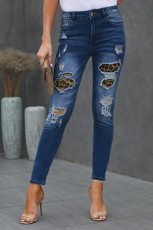 Patch-uri de blugi distressed din denim leopard