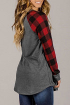 Red Crew Neck Christmas Reindeer Print Plaid Tunic Top