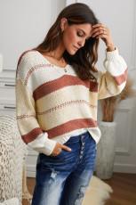 Sweater Pullover Lengan Lentera Rajutan Leher-V