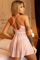 Pink Lace Tulle Flare Babydoll with Thong