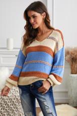 Oransje G-strikket genser med v-hals