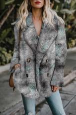 Grey Tie Dye Lapel Collar Open Front Fleece Coat