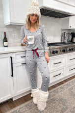 Gray Glass Printed Button Top & Pants Loungewear