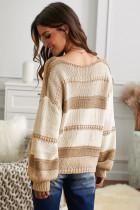 Sweater Pullover Lengan Lentera Rajutan V-neck Khaki