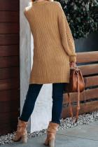 Cardigan in maglia a trecce con maniche a goccia color albicocca e spacchi