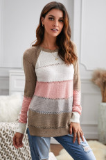 Maglione girocollo a maniche lunghe a blocchi di colore multicolore lavorato a maglia