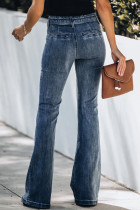 Jeans con fondo a campana in vita con sacchetto di carta blu