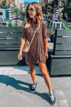 Mini šaty Leopard Twist s kulatým výstřihem