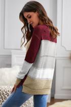 Maglione girocollo a maniche lunghe a blocchi di colore lavorato a maglia con accenti di vino