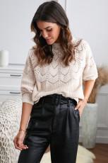 Maglione pullover beige scavato