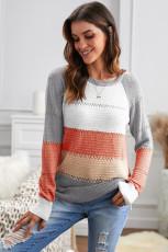 Maglione girocollo manica lunga color block lavorato a maglia grigio