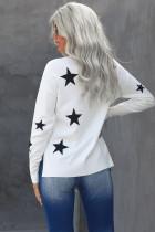 Sweater Print Bintang Lengan Turtleneck Putih Turtleneck