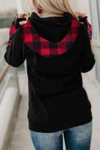 Rød Plaid hættetrøje med dobbelt hætter