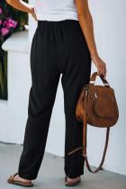 Calça preta casual com cintura elástica com cordão e bolsos