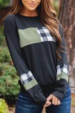 Blusa de mangas compridas com bloco de cor de emenda xadrez preta