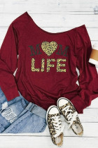 Red Mom Life Leopard Print Heart Off Ombro Top
