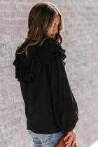 Maglia nera a maniche lunghe con lanterna arricciata