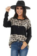 Top de manga comprida estampado leopardo preto Latter Latter