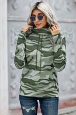 Felpa con collo a cappuccio mimetico verde militare