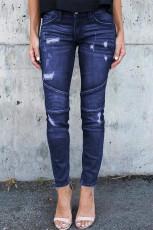 Темно-синие рваные джинсы скинни в стиле пэчворк