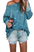 Blusa de manga comprida relaxada com estampa Blue Star