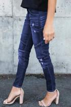 Mørkeblå distressed patchwork skinny jeans