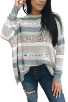 Barevný pruhovaný vyhloubený svetr pro posádku s límečkem
