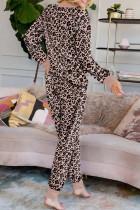 Pink Leopard Trykt Knapp Pyjamas Sett