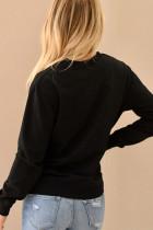 Černá mikina s potiskem na dopisní výstřih do krku