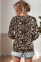 Utholdet leopardbluse med V-hals