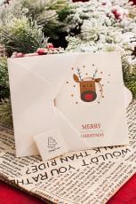 Klipp ut julekort med hjortemønster