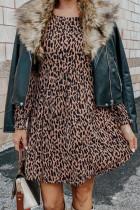 Mini Dress Lengan Panjang Leopard Ruffled Round Neck