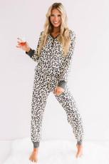 Beige Leopard Printed Butty Pyjamasett
