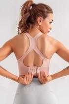 Màu hồng đệm hỗ trợ thể dục Áo ngực thể thao màu rắn