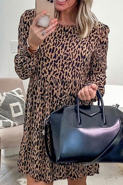 Leopard Ruffled Round Neck Long Sleeve Mini Dress