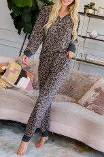 Brunt leopardtrykt pyjamasett