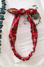 أصفر أحمر منقوش عيد الميلاد طباعة Bowknot عقال