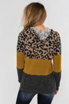 Felpa con cappuccio e coulisse a blocchi di colore con stampa leopardata