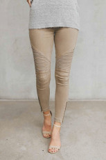Khaki Cropped Moto Jeggings