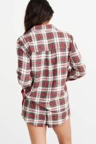 Set pigiama natalizio abbottonato manica lunga scozzese rosso