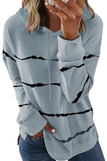 Grå Tie-dye Striped Drawstring Hoodie med sidesplitt