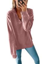 Felpa rosa con collo a zip